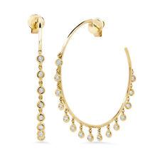0.90 CT 14K Yellow Gold Natural Round Bezel Shaker Dangle Diamond Hoop Earrings