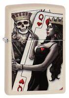 Zippo Skull, King, Queen Beauty Cream Matte Windproof Pocket Lighter, 29393