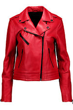 Rag & Bone Women's Chrystie Moto  Biker Jacket Red Leather size 4 NWT $995