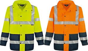 Vizwell Warnschutz Regenjacke Arbeitsjacke Parka wasserdicht gelb orange