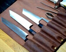 Chefs Knife Roll Bag, Pure Leather, Knife Carry Case Wallet 8 Pockets,TAN COLOR
