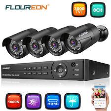 FLOUREON 8CH 1080P AHD DVR+4X 3000TVL Outdoor IP Camera CCTV Security System Kit