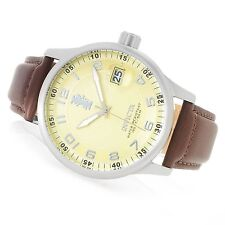Invicta 44mm I Force Quartz Champagne Dial 14788 Leather Strap Watch New
