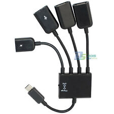 4in1 USB 2.0 Micro Plug to 3 A Female + 1 Micro Port Adapter Extension Power Hub