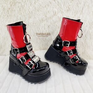 Scene 51 Black Platform Red Goth Punk Mid Calf Cyber Boots NY IN STOCK Size 6