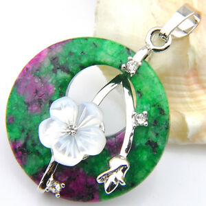 Holiday Handmade Natural Ruby Zoisite Carved Shell Gems Silver Necklace Pendants
