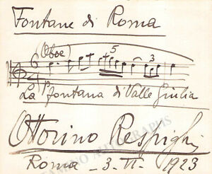 Respighi, Ottorino - Autograph Music Quote Signed 1923