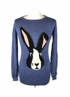 Sugarhill Boutique Jumper Bunny Rabbit Pattern Blue Cotton Sz 8 UK Ladies