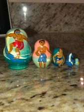 5 Piece Nesting Doll Hawaii Set Surfboarder