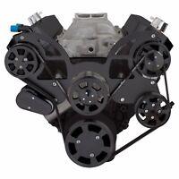 Black BBC Serpentine Pulley Conversion Kit Big Block Chevy 454 396 AC A/C SWP