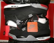 Air Jordan 4 Retro 'Bred' Black/Fire Red-Cement Grey 308497-060 Men's Size 15