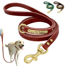 Personalised Dog Leather Lead ID Name Tag Free Engraved Walking Training Leash
