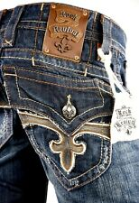 """$220 Mens Rock Revival Jeans """"Paul"""" Brownie Leather Inserts Straight Leg 32 X 33"""