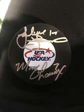 Jocelyn Lamoureux and Monique Lamoureux Dual Signed Team USA Logo Puck