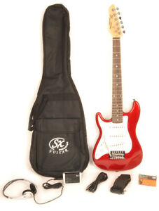 SX RST 1/2 CAR Left Handed Electric Guitar Package 1/2 Size w/Strap and Bag