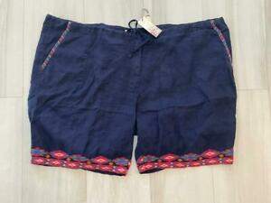 NWT Johnny Was Etienne Navy Blue  Linen Embroidered Shorts 2X $150