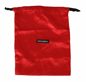 DOLCE & GABBANA Dustbag Cover Bag Cotton Red Drawstring Shoebag 33cm x 26cm