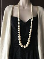 Vintage Long Roses Moulded Early Plastic Art Deco faux Bone necklace white