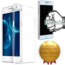 PACK COQUE SILICONE + VERRE TREMPE★TRANSPARENT SLIM★POUR GALAXY GRAND PRIME
