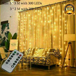 Solar/Battery LED String Curtain Fairy Lights Window Home Party Wedding Decor