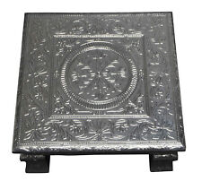 """Silver Flower Premium Quality Indian Puja Bajot-Table-Chowki-Chaurang Large 18"""""""