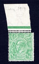 AUSTRALIA 1919 MINT KGV 1/2d GREEN LMW STAMP WITH DOUBLE PERFORATION - CV $200