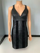 Asos NEW Black 100% Leather & Suede Dress BNWTS Size 34 Uk 6 Sleeveless