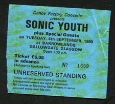 Sonic Youth & Teenage Fanclub 1990 Concert Ticket Stub Glasgow, Goo Tour