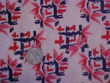Printed Feedsack or Feed Sack, Blue And Red Squares w/ Red Flowers
