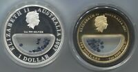 2007 1 oz Proof Gold and 1oz Silver Sapphire Treasures of Australia Locket Coins