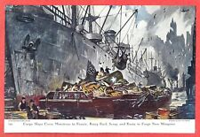 1943 Illustration ~ THORNTON OAKLEY~ WWII Cargo Ships Carry Munitions and Scrap