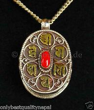 "Medallón Gau PLATA ""Buena Calidad"" Amuleto CORAL Mantra Tibet Nepal 51"