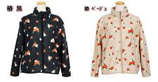 Japanese Kurochiku Kimono Pattern Fleece Jacket Winter Jacket Coat Camella Beige