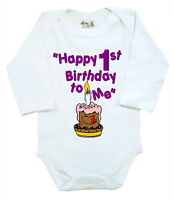 """Dirty Fingers Baby Long Sleeve Bodysuit """"Happy 1st Birthday to Me"""" 1 First One"""