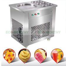220V Fry Ice Cream Rolls Yogurt Machine -Cold Freeze Plate- S/Steel Pan 6 Bucket