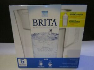 Brita Water Filtration System Slim Pitcher 5 Cup Capacity White Advanced Filter