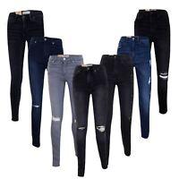 New Womens Slim Fit Jeans Ladies Ripped Stretch Denim Cotton Skinny Pants 6 - 14