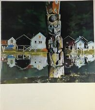 "1970 Vintage ALASKA Full Color Art Plate ""TOTEM POLE IN WRANGELL"" McIntyre Litho"