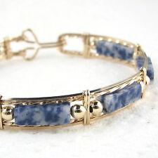 Blue Denium Lapis Gemstone Bangle Bracelet 14K Yellow Gold Filled Jewelry