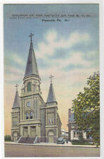 Church Nativity BVM Plymouth Pennsylvania linen postcard