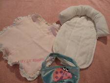 Baby Infant White Head Support / Rest With Purse & Mini Baby Blanket