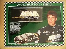 Official Racing Team Patch Ward Burton MBNA W&W Willabee & Ward