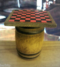 Dollhouse Miniature Aged Wood Barrel with Checkerboard
