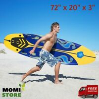 Surfboard Longboard Board Surfing Water Sport Foam with Removable Fins Yellow