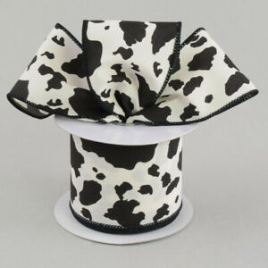 """Cow Print Black/White Wire Ribbon 2.5"""" Cowboy*Rodeo*Western*Rustic*(2 LENGTHS)*"""