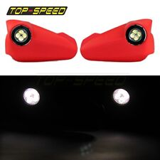 Red LED Light Vision Handguards Hand Guards Brush Bar Supermoto Motocross ATV