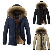 Winter Men Fashion Youth Coat Thick Warm Parka Hooded Fur Collar Jacket Outwea