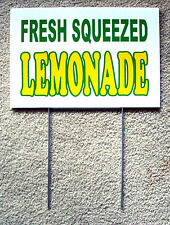 Fresh Squeezed Lemonade Coroplast Sign With Stake 8 X 12 Concession Stand