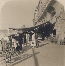 Biarritz Devant les arcades du Casino Mode France Stéréo Vintage ca 1920