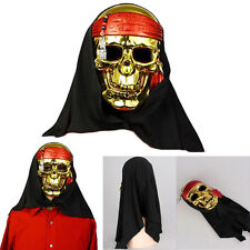 Dazzling Toys Plastic Gold Skull Pirate Face Mask Fancy Halloween Party Costume